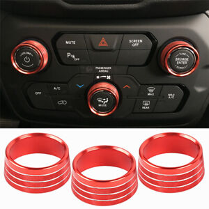 for Jeep Renegade 2018 2019 Air Conditioning Audio CD Button Ring Trim Cover 3PC
