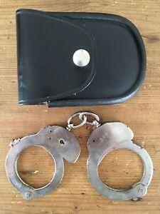 Ex Police Issue Hiatt Handcuffs & Leather Pouch Vintage 1970's