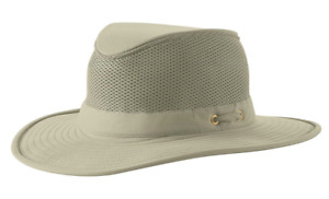 Tilley LTM8 AIRFLOW LIGHTWEIGHT MESH Hat, Grey/Olive Rim XS (6 7/8) MSRP $90