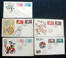5, 1960 – 61 – 62 Europa First Day Covers, from Spain & Norway