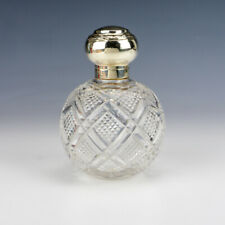 Antique Silver Lidded Cut Glass Scent Or Perfume Bottle - Lovely!