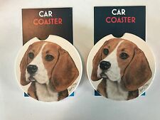 """A PAIR OF BRAND NEW """" BEAGLE """" STYLE ABSORBENT STONE CAR COASTERS for the h"""