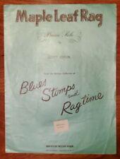 "VINTAGE SHEET MUSIC ""MAPLE LEAF RAG"" BY SCOTT JOPLIN BLUES, STOMPS, AND RAGTIME"