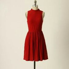 Anthropologie Deletta Cosgrove Dress red retro vintage pinup sz small textured