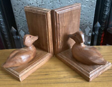 Pair Of Lovely Vintage Wooden Duck Bookends (D4)