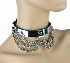 Metal Aluminum Chain Sub Bondage Choker D ring Fetish Punk Goth Hanging Collar