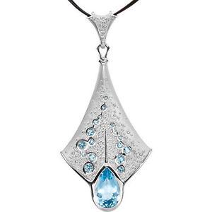 """Pear London Blue Topaz & Aquamarine 18"""" Necklace In Platinum"""