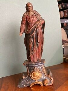 RENAISSANCE VIRGIN MARY POLYCHROME WOOD SCULPTURE ON GILT BASE