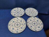 Vintage 1950's ROYAL CHINA  Delft Modern Blue Set/4 Salad Plates Retired