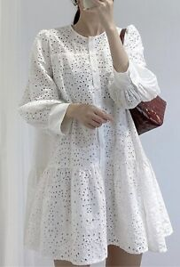 Zara Bloggers Fab Whit Broderie Dress With Frill Detail Size Small BNWT