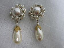 """VINTG SIGNED MIRIAM HASKELL BAROQUE PEARL BEADED DANGLE CLIP ON EARRINGS 2 1/2"""""""