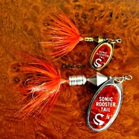 NEW Flame Mylar Sonic Rooster Tail - Choice of Hook/Blade Size/Weight & Quantity