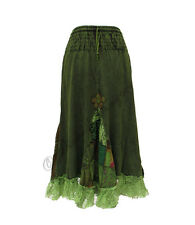 NEW WOMEN BOHO STYLE LONG SKIRT WITH PATCHWORK AND LACE DETAIL 8-10-12-14-16