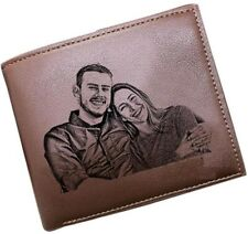Personalised Leather Wallet Engraved Any Text Picture Husband Boyfriend Dad Gift