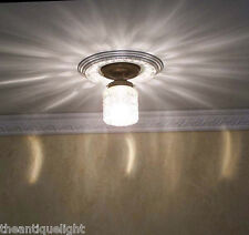 383 Vintage 30s 40s Ceiling Light glass lamp fixture porch 1 of 2