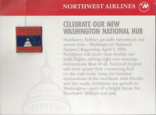 ~ NORTHWEST AIRLINES ~ WASHINGTON HUB 1991 CARD & TIE/LAPEL PIN ~EXTREMELY RARE~