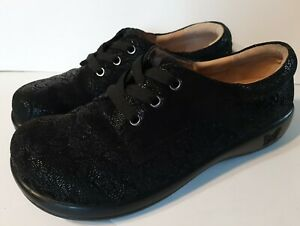 Alegria Kim Oxford Women's EU40/US9.5 Black Lace Up Floral Comfort Shoes Nursing