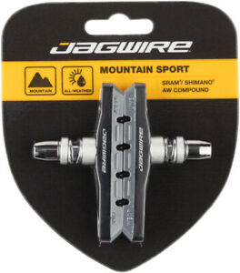 Jagwire Mountain Sport V-Brake Pads Threaded Post Gray All Weather Compound