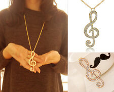 Hot Fashion Women Crystal Music Note Gold Long Chain Sweater Necklace Pendant EY
