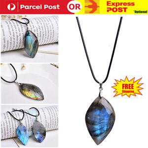 Natural Labradorite Moonstone Stone Reiki Healing Pendant Necklace Jewelry Gift