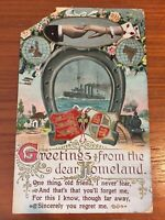 Postcard 1915 Greetings From Homeland Ship Gold Embossed, Train Vintage P06