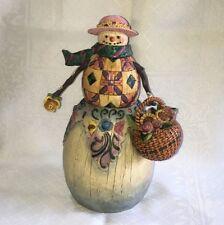 Jim Shore Winter'S Promise Snowman / Flower Basket Figurine Christmas 112245 Nib