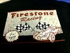 Indianapolis Indy 500 FIRESTONE RACING Black 2 Sided T-SHIRT NWOT