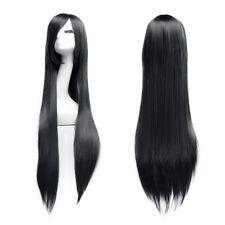 100 cm Cosplay parrucca lunga e dritta completamente Wig nero (U9g)