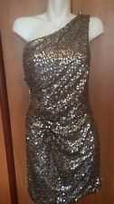 Sequin Women Dress L Large Beige Silver New Youth Party One Shoulder As You Wish