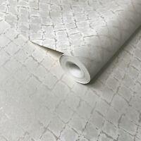 Modern Wallpaper white metallic textured diamonds plain wall coverings rolls 3D