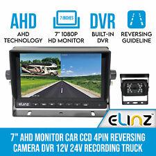 """7"""" AHD Monitor Car CCD 4pin Reversing Camera DVR 12v 24v Recording Truck Caravan"""