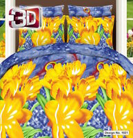 3D Effect Duvet Cover Set, Quilted Cover Set With Pillow Cases & Fitted Sheet 21
