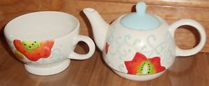 Laurie Gates Teapot/Coffee & Mug for One - 3 pieces Multi-Color Floral China