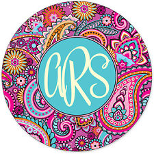 Monogrammed Mouse Pad - Pretty Pink Paisley Personalized Custom Gift Monogram