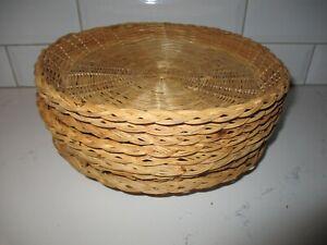 "Vtg Set of 8 Wicker Rattan Bamboo Paper Plate Holders Basket Wall Decor 10"""