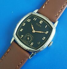 Stunning Antique 1920s Mans ELGIN *USA* Hand Winding Black Tone Dial SERVICED