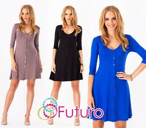 Women's Mini Dress With Buttons V Neck 3/4 Sleeve Shift Tunic Sizes 8-18 8995