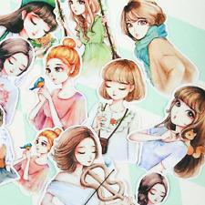 Pretty Girl Manga Anime Style Stickers, Kawaii Planner Sticker Set Scrapbooking