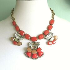 Pre-owned J Crew Coral Red Clear Crystal Stone Statement Necklace