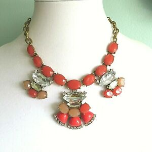 J Crew Coral Red Clear Crystal Stone Statement Necklace