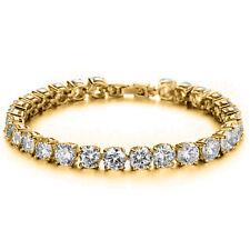 "14K Yellow Gold Over Silver 5Ct VVS1 Round Cut Diamond 7"" Tennis Bracelet Unisex"
