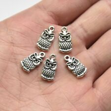 20X Tibetan Silver Owl Bird Beads Charm Pendant 15*8mm For DIY Earrings/Bracelet