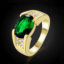 Fashion Luxury Solitaire CZ Emerald 18K Gold Filled Man's Rings Gift Size 8-11