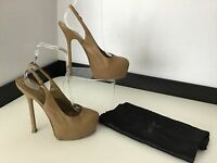 Ysl Yves Saint Laurent Beige Slingback Tribute Size 37.5 Uk 4.5  Shoes Heels Vgc
