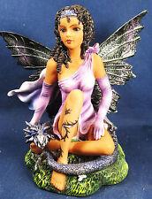 Ebony Fairy w/dark gray Dragon hand painted mythical fantasy figurine