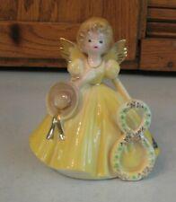 Vintage Josef Originals 8 Birthday Angel Yellow Dress Porcelain Figurine Hat