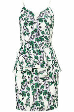 TOPSHOP WHITE GREEN FLORAL ORIENTAL PEPLUM SILK STRAPPY CAMI DRESS 16 44 12 £160