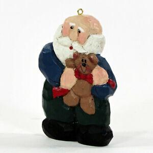 """Midwest of Cannon Falls BLUE SANTA w/ TEDDY 3"""" Ornament Christmas Eddie Walker"""