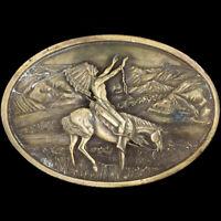 Vtg Chief Joseph Native American Indian Horse Western Cowboy Belt Buckle