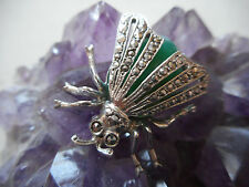 Sterling Silver Germany Marcasite Green Stone Bug Brooch   RE461